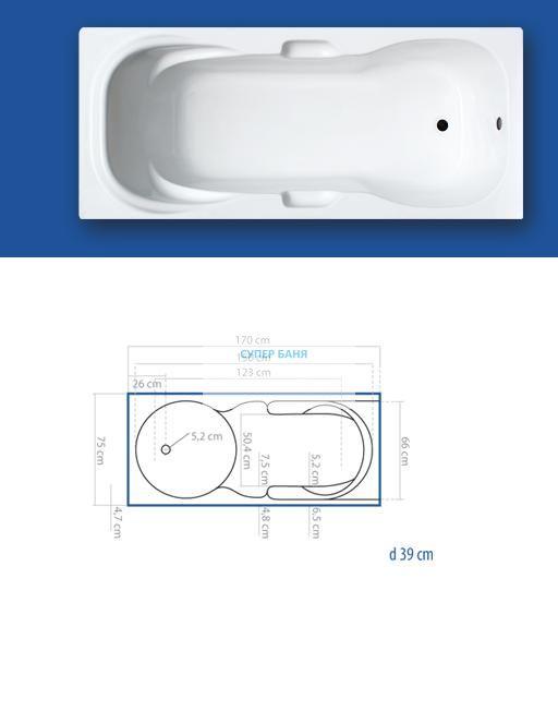 Акрилна вана BALI 170х75